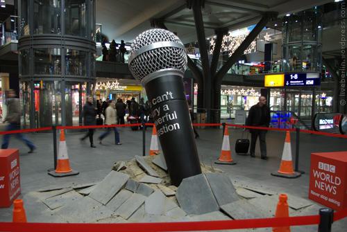Huge microphone breaks the floor